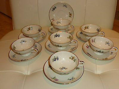 Thomas Bavaria Germany Vintage Cups and Saucers - Set of 7 Plus an Extra Saucer