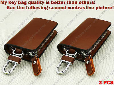 2P Quality Cow Genuine Leather Car Remote Key Chain Holder Case Bag Cover Fob ao