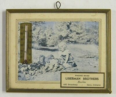 Vintage Framed Liberman Brothers Jewelers Advertising Thermometer - Gary Indiana