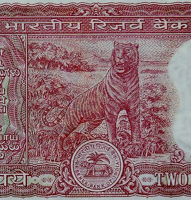 TIGER ON MONEY 1985 INDIA 2 RUPEES BANKNOTE Uncirculated Mint Condition Small
