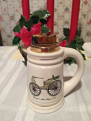 Vintage Evans Bone China Stein Shaped Table Lighter 1895 Duryea's Motor Wagon