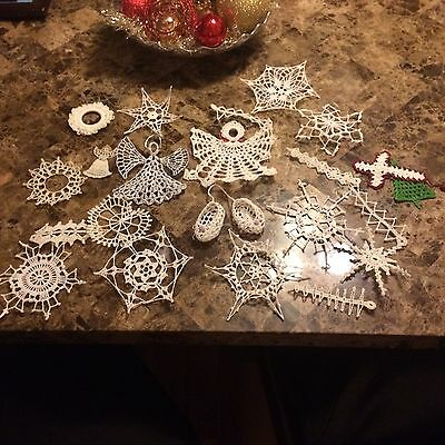 HAND CROCHETED WHITE  SNOWFLAKES  CHRISTMAS ORNAMENTS,Angles,baby Shoes