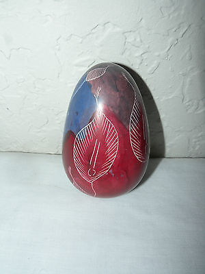 ❤❤❤ Hand Painted Soapstone Egg Design Made in Kenya  Blue - Red  White
