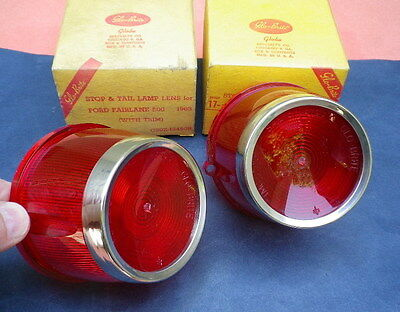 NOS 63 1963 FORD FAIRLANE 500 TAIL LIGHT LENS LAMP LENSES WITH TRIM NORS