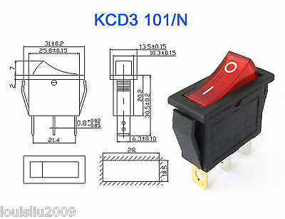 1pc KCD3 Red Button On-Off 3Pin DPST Boat Car Rocker Switch 15A/20A 250V/125VAC