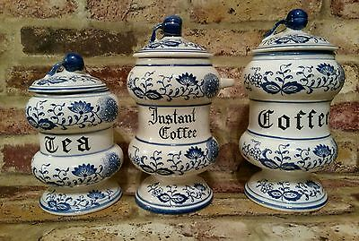 *VINTAGE* ARNART  BLUE ONION INSTANT COFFEE , COFFEE, TEA, CANISTER JAPAN