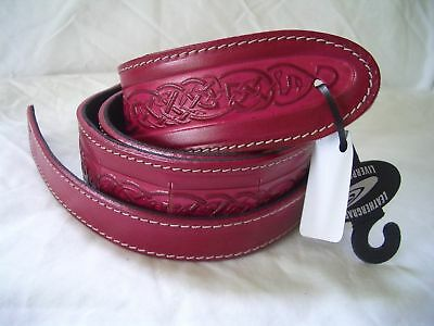 Uk Made Embossed Red Celtic Design Real Leather Acoustic/electric Guitar Strap