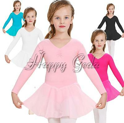 NWT Girls Kids Ballet Leotard Tutu Dress Toddler Skating Dancewear SZ 3-12 Years