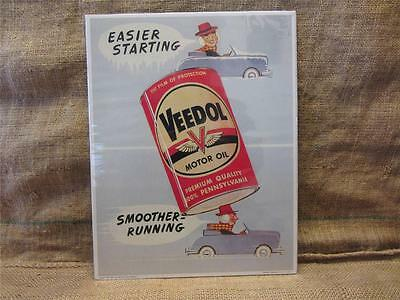 Vintage 1958 Veedol Motor Oil Sign   Antique Automotive Gas Garage Store 9153