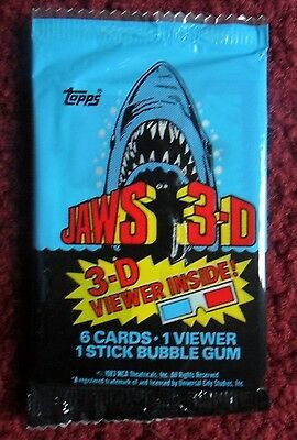 Unopened Pack 1983 JAWS 3-D Movie Trading Cards ~ Dennis Quaid Lea Thompson
