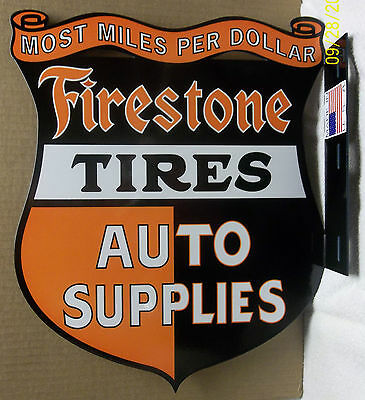Great looking Firestone Tires Flange, Heavy Steel, nice Color and Shine