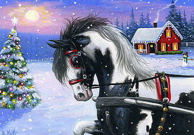 Pinto horse sleigh Christmas tree house snow limited edition aceo print art