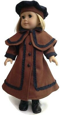 """Burgundy Wool Victorian Coat+Tam Hat 18/"""" Doll Clothes Fits American Girl Dolls"""