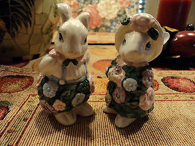 Fitz And Floyd 1991 Bloomers Bunny Rabbit Salt & Pepper Shakers RARE