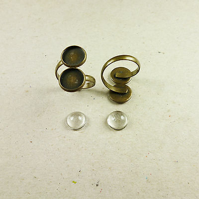 2 x Antique Bronze Brass Double Ring Base Setting 12mm With Or Without Cabochon