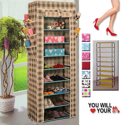 Non Woven Canvas Fabric Shoes Storage Cabinet Organiser Shoe Rack Zipper Stand