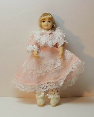 Dollhouse Miniature Charming Doll in a Pink Dress