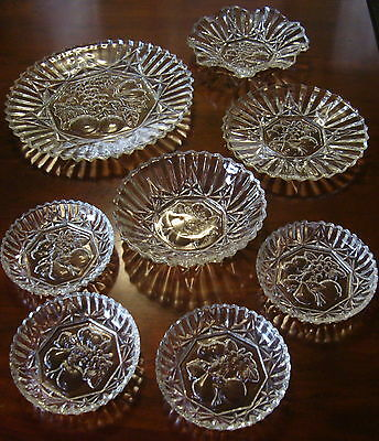 Depression Federal Glass Lot of 8 Pioneer Clear Pressed Fruit Nappy Bowls Plates