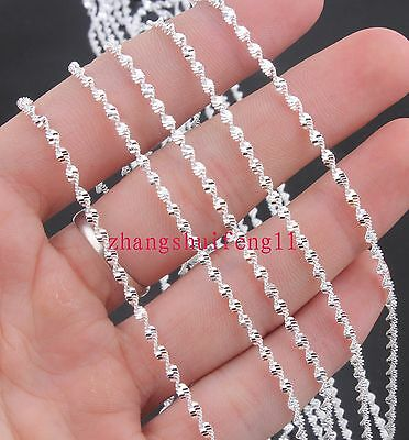 """FREE Wholesale Fashion  5pcs 925 Sterling Silver Big waves Necklace Chains 28"""" A"""
