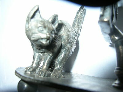 antique CAT MUSIC SHEET silver/silverplate figural napkin ring/holderTufts exc