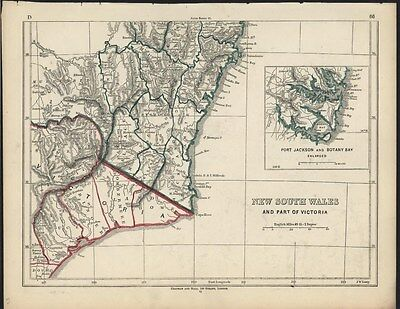 New South Wales Australia c.1852 Lowry multi-sheet 3 antique lithograph map set