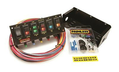 Painless Wiring 50302 6-Switch Fused Race Car Rocker Switch Panel - w/ Wiring