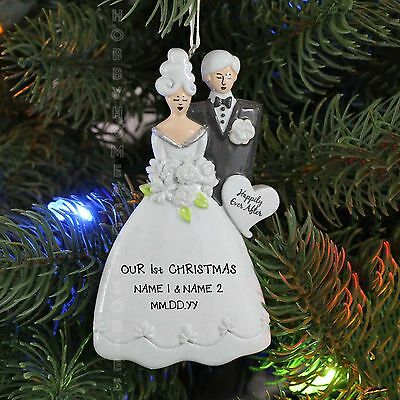 Modern Bride and Groom EVEN AFTER Wedding Personalized Christmas Tree Ornament