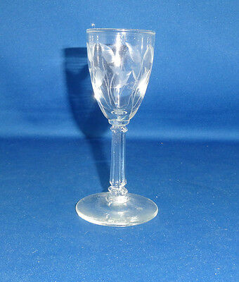 """Libby Glass Cordial Crystal Leaf cutting Height 4 1/8"""""""