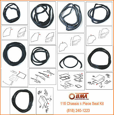 Mercedes W116 Chassis Seal KIT Doors Windshields Trunk Sunroof Seal Kit  -8 Pcs,