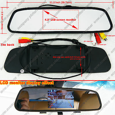 """4.3"""" TFT LCD Screen Car Rear View Parking Mirror Monitor For Backup Camera af"""