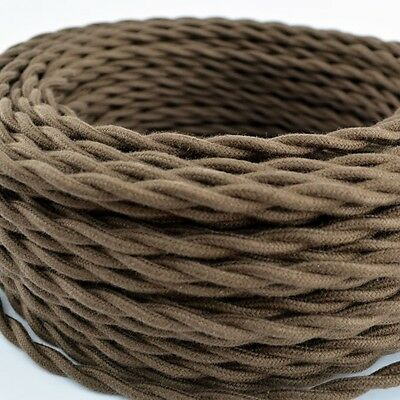 Brown COTTON cloth Covered Twisted Wire 25ft Roll - Lamp Cord - Pendant Light