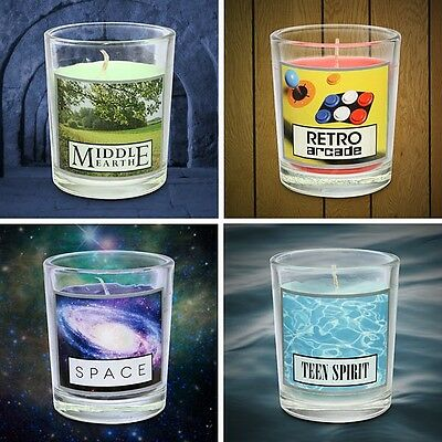 NERD GEEK SCENTED CANDLE SET OF 4 RETRO ARCADE MIDDLE EARTH SPACE TEEN GAG GIFT