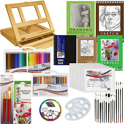 134pc Deluxe Acrylic Paint Sketch Set Easel Draw Pad Canvas Brushes Color Pencil