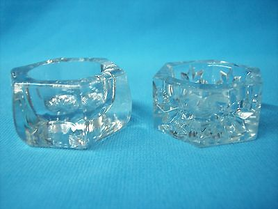 TWO HEXAGONAL (SIX SIDED) CRYSTAL CLEAR GLASS OPEN CELLAR SALT DIPS