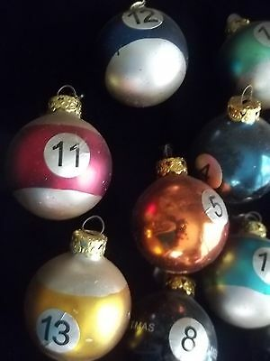 Box 15 Pool Ball Glass Christmas Ornaments Billard Set Lot W