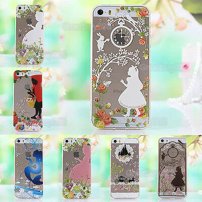 Princess Clear Transparent TPU Soft Back Phone Case Cover For iPhone & Samsung