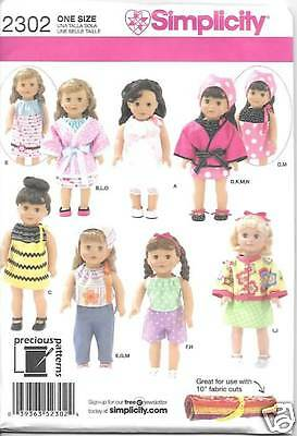 18 INCH DOLL CLOTHES NEW SEWING PATTERN SIMPLICITY 2302