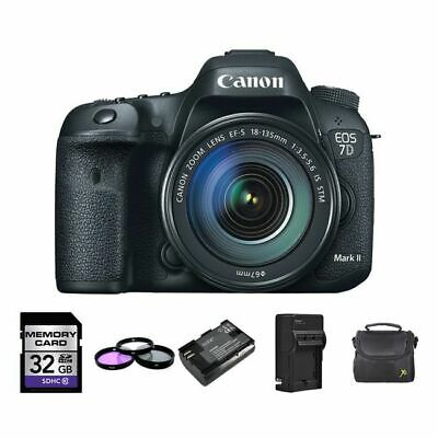 Canon EOS 7D Mark II DSLR Camera w/18-135mm + 2 Batteries, 32GB, Flash & More