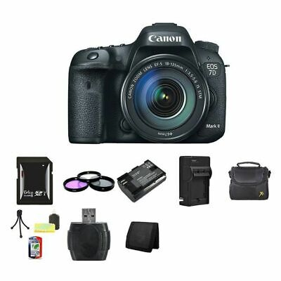 Canon EOS 7D Mark II 20.2MP Digital SLR Camera w/18-135mm Lens 64GB Package