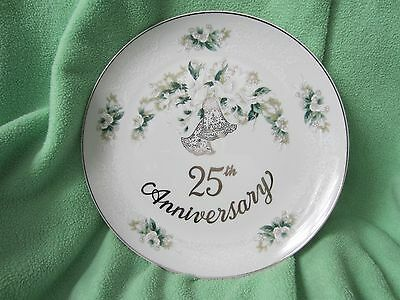 "Lefton china 10 1/2"" 25th anniversary plate"
