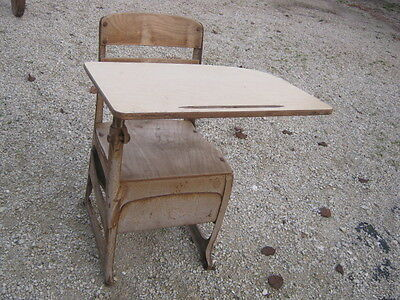 Vintage Old Wood and Metal Children Child School Desk Chair