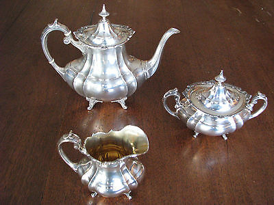 "3 piece Ornate Old Reed & Barton ""Hampton Court"" pattern Sterling Silver Tea Set"