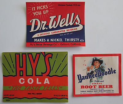 Dr. Wells Beverage Hys Cola Yankee Doodle Root Beer Label Lot Oakland California