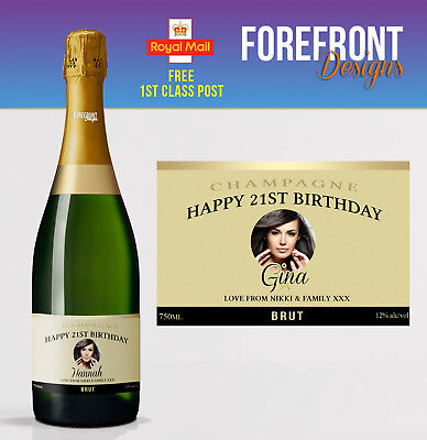 Personalised Photo Champagne Bottle Label, Perfect Birthday Gift/Wedding Gift