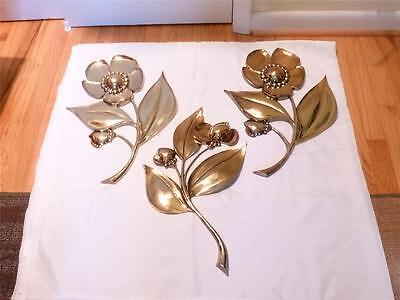 Hollywood Regency 1974 Syroco 3 Piece 3 D Gold Flower Wall Hangings 20 in. Rare