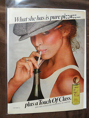 1981 Print Ad Faberge Touch of Class Cologne Perfume Fragrance Sexy Girl