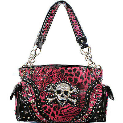 CONCEALED CARRY HANDBAG WITH SKULL AND CROSSBONES w/LEOPARD PRINT