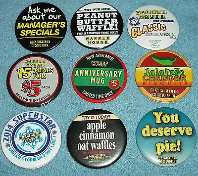 (Lot of 9) Classic Collector's Edition Waffle House Buttons
