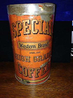 Antique SPECIAL WESTERN BRAND BY CHASE AND SANBORN Coffee Can PAPER LABEL! RARE