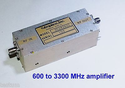 600 to 3300 MHz  high gain, +24 dBm out medium power amplifier, +12 v.
